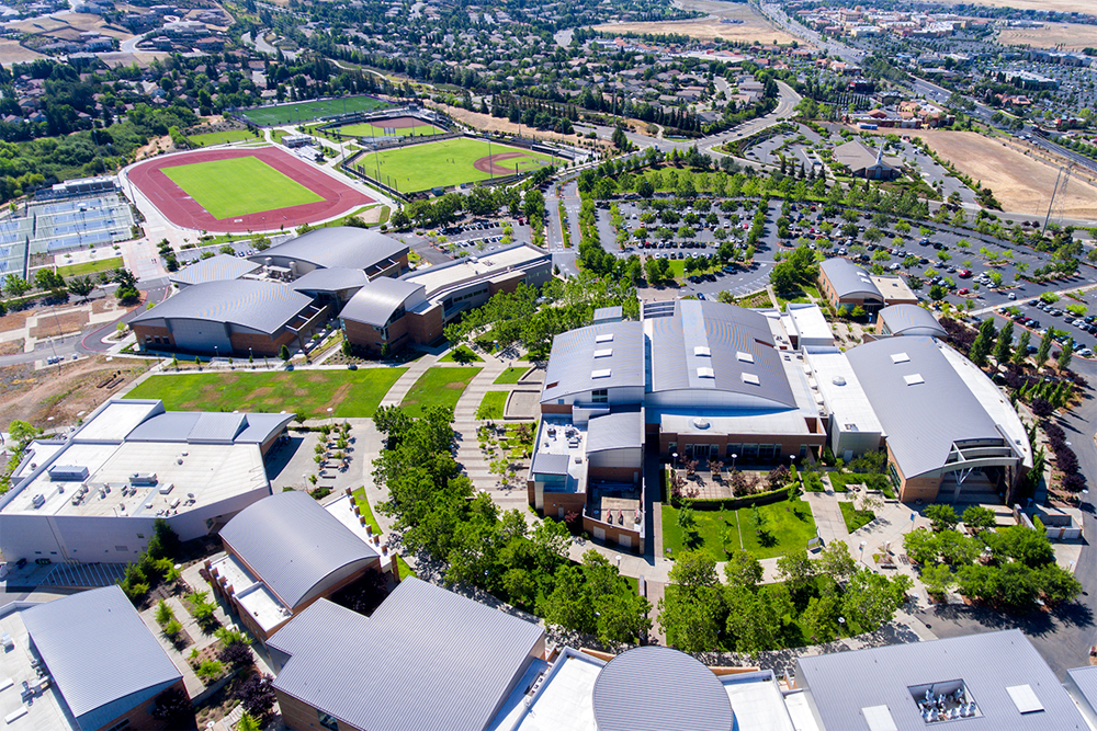 aerial photography folsom lake college